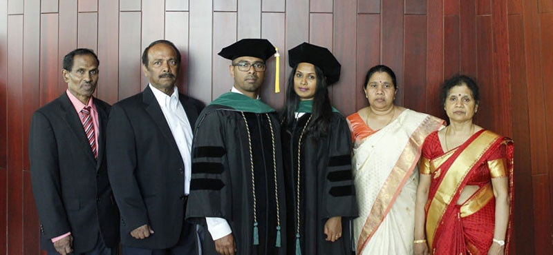 A PROUD MOMENT FOR BOTH OUR FAMILIES: 'Truly blessed to have them all at the graduation.' Photo: Courtesy of Dr. Thivisa Rajagopal