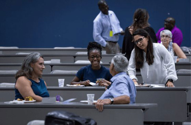 AT THE ONE HEALTH SYMPOSIUM: First row, left to right: Dr. Jane Harrington, Dr. Gordon Avery. Second row, left to right: Eboni Peoples, Fabiola Rodriguez. Photo: L King Photography