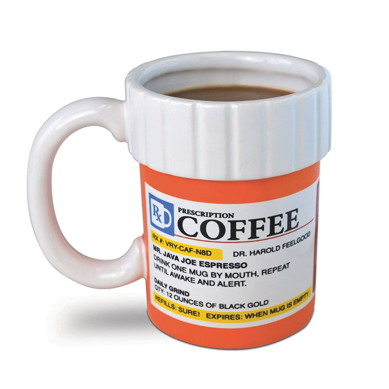 BIG MOUTH TOYS PRESCRIPTION COFFEE MUG: Available from Amazon. Photo: Amazon.com