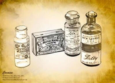 COCAINE: (Left to right) 'A bottle for Boehringer Muriate of Cocaine, a tin for menthol and cocaine throat lozenges, a bottle for powdered cocaine manufactured by Park, Davis & Co., & a glass bottle for fluid extract of cocaine manufactured by Eli Lilly and Co.' Photo: © Wood Library-Museum. www.WoodLibraryMuseum.org