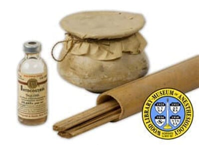 CURARE: Originally used by indigenous South Americans. First used in 1942 by doctors to keep the body still during surgery for delicate operations. Photo: © Wood Library-Museum. www.WoodLibraryMuseum.org