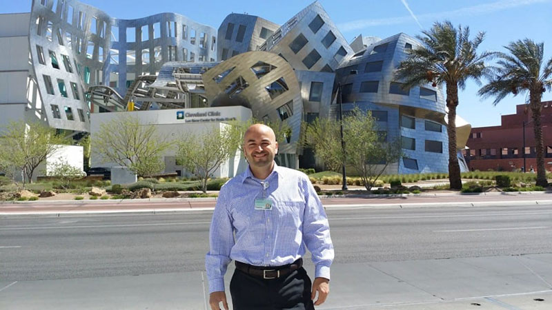 MED STUDENT DOING RESEARCH: Aaron Vazquez in front of the Lou Ruvo Center for Brain Health at the Cleveland Clinic in Las Vegas, Nevada when he was a UMHS student