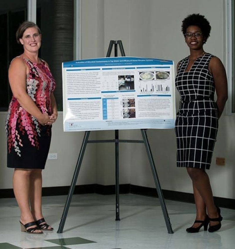 Dr. Jane Harrington with Soraya Darwood. Soraya did a poster presentation on 'Evaluation of microbial contaminants in tap water & efficacy of home filtration systems.' Photo: © Ian Holyoak Photography