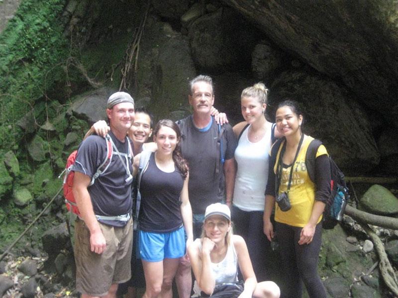 'Dr. McCracken (UMHS Anatomy Professor) & classmates at Bloody Gut Trail in St. Kitts 2012.' Photo: Courtesy of Dr. Elizabeth Nielsen