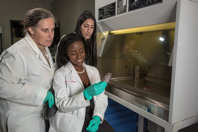 Dr. Jane Harrington (left) with UMHS students in the UMHS Research Lab. Photo: Ian Holyoak