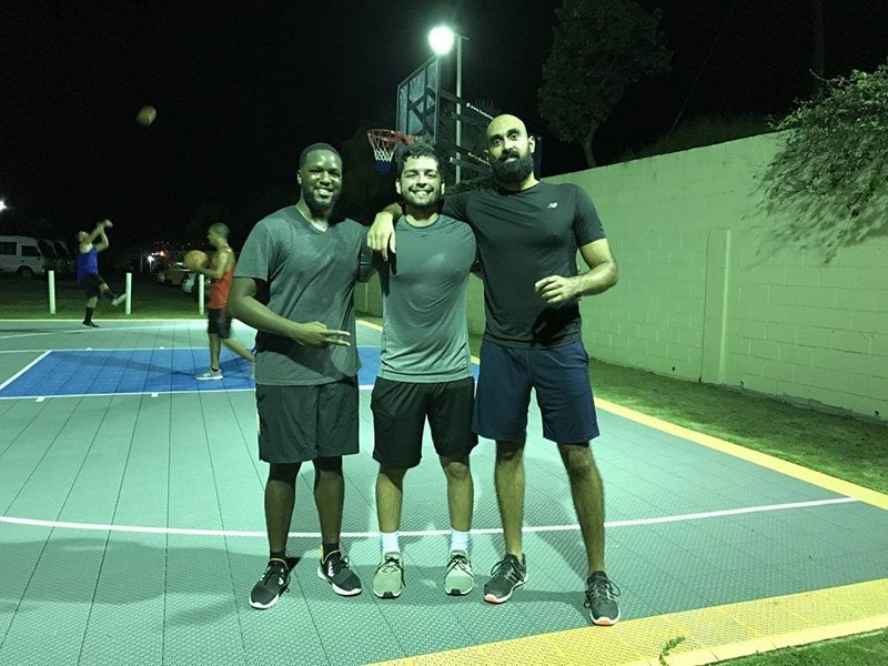 BECAUSE WE CARE 3 vs. 3 BASKETBALL GAME: (left to right) Shepherd Drayton, Javier Herrans Perez & Amrit Dhaliwal. Photo: Courtesy of Because We Care