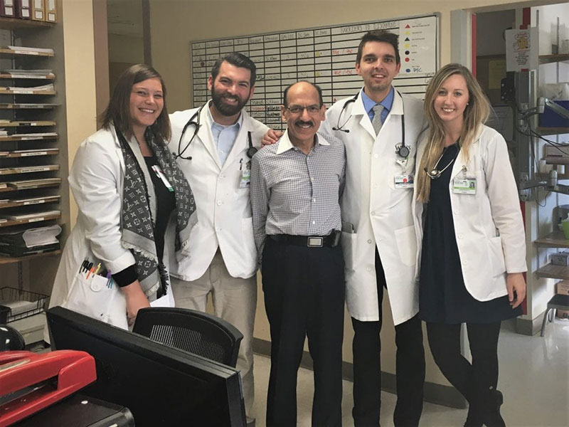 DR KIRSTEN FILL: With colleagues after finishing rounds on a cardiology rotation in Chicago. Photo: Courtesy of Dr. Kirsten Fill