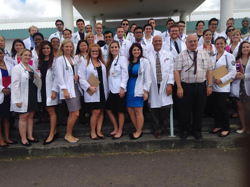 WITH COLLEAGUES IN ST. KITTS: Dr. Kessener with fellow students & faculty at UMHS in St. Kitts. Photo: Courtesy of Dr. Kessener