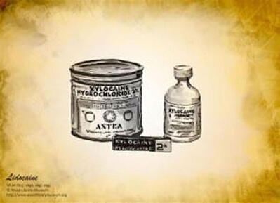 LIDOCAINE: Clinically introduced in Sweden by Torsten Gordh. M.D. as a local anesthetic. Proved to be longer lasting than others with lower risk of adverse effects. Photo: © Wood Library-Museum. www.WoodLibraryMuseum.org