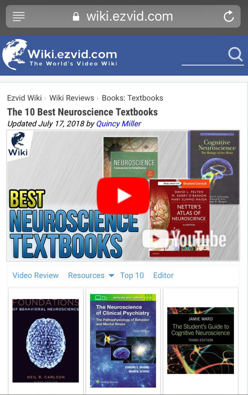'NETTER'S ATLAS OF NEUROSCIENCE' MAKES 10 BEST LIST: UMHS professor Dr. David Felten's textbook 'Netter's Atlas of Neuroscience, 3rd Edition' on video review list of 'The 10 Best Neuroscience Textbooks' on the site Wiki.ezvid.com (screenshot of site). Full video is included at the end of this post.
