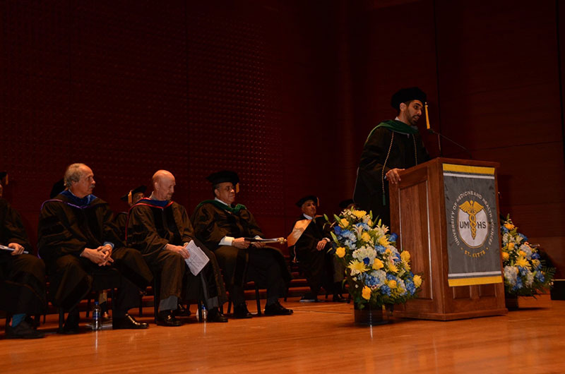Dr. Azimi-Ghomi speaks at graduation at Lincoln Center in New York City on June 8, 2018. Photo: Island Photography