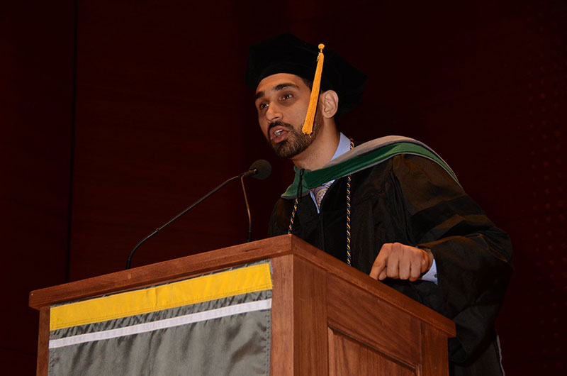 Dr. Azimi-Ghomi speaks to the graduates of UMHS Class of 2018 on June 8, 2018 at Lincoln Center, New York City. Photo: Island Photography