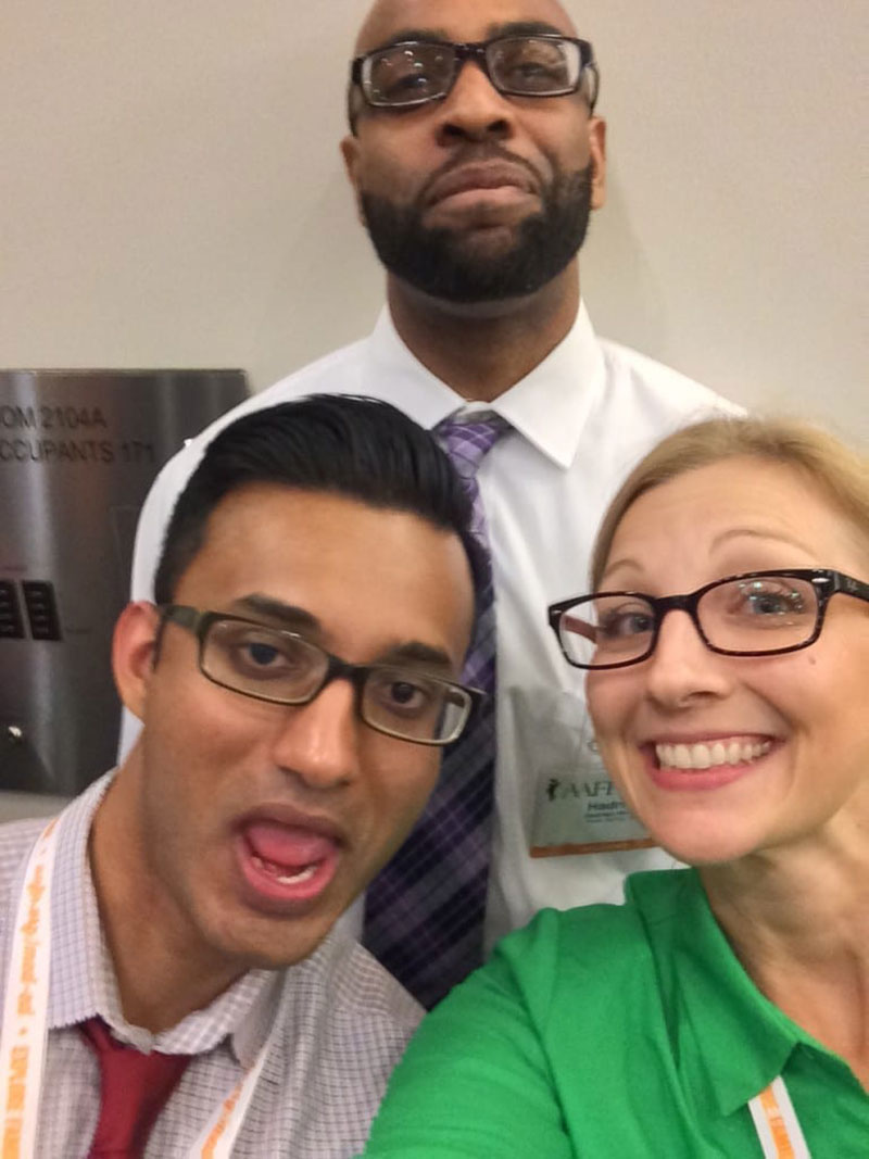 SELFIE AT AMERICAN ACADEMY OF FAMILY PHYSICIANS CONFERENCE: Dr. Christine Fetterolf (right) with UMHS students (left) George Sebastian & Hadrian Holder (middle) in Kansas City, MO last year. Photo: Courtesy of Dr. Christine Fetterolf
