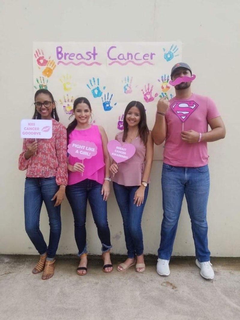 STEPS FOR BREAST CANCER AWARENESS: (left to right) Yanelle Ascencio, Rayshell Morales, Karla Martinez & Daniel Albarran. Photo: Courtesy of STEPS