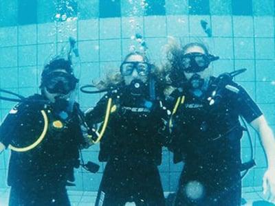 UMHS SCUBA DIVE CLUB: (left to right) Ardelle Estoesta, Paola Mora & Alexa Datko. Photo: Courtesy of UMHS SDC