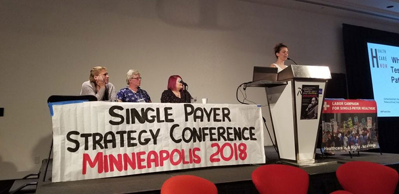 SINGLE-PAYER ADVOCATES AT STRATEGY CONFERENCE: Fans of 'Medicare for All' speak in Minneapolis in June 2018. Photo: Courtesy of Healthcare-NOW!
