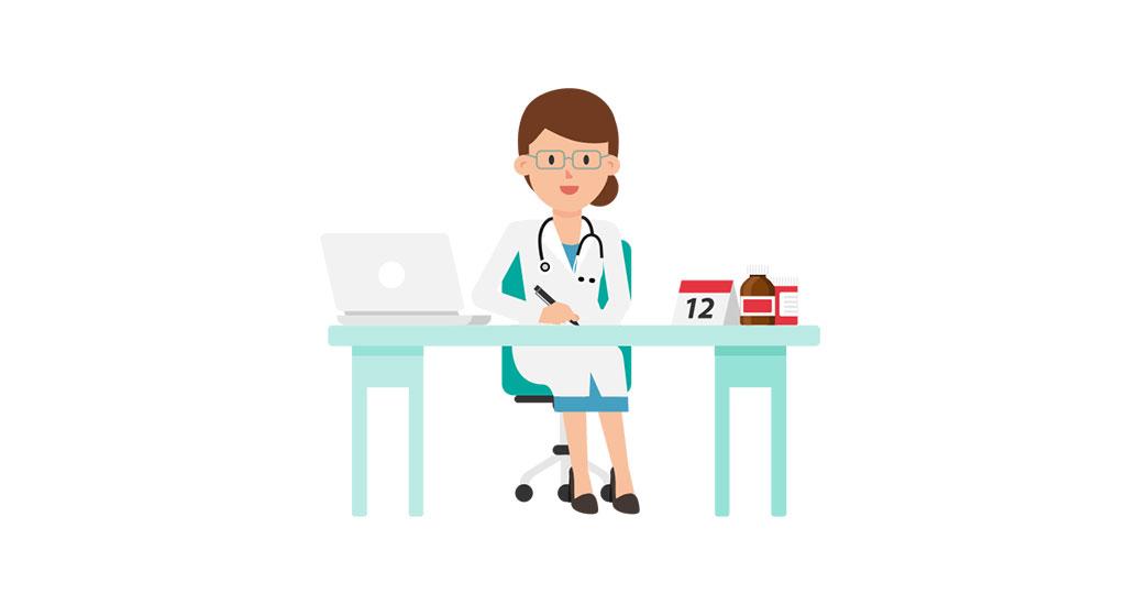 Doctor_Working_at_Desk_Cartoon
