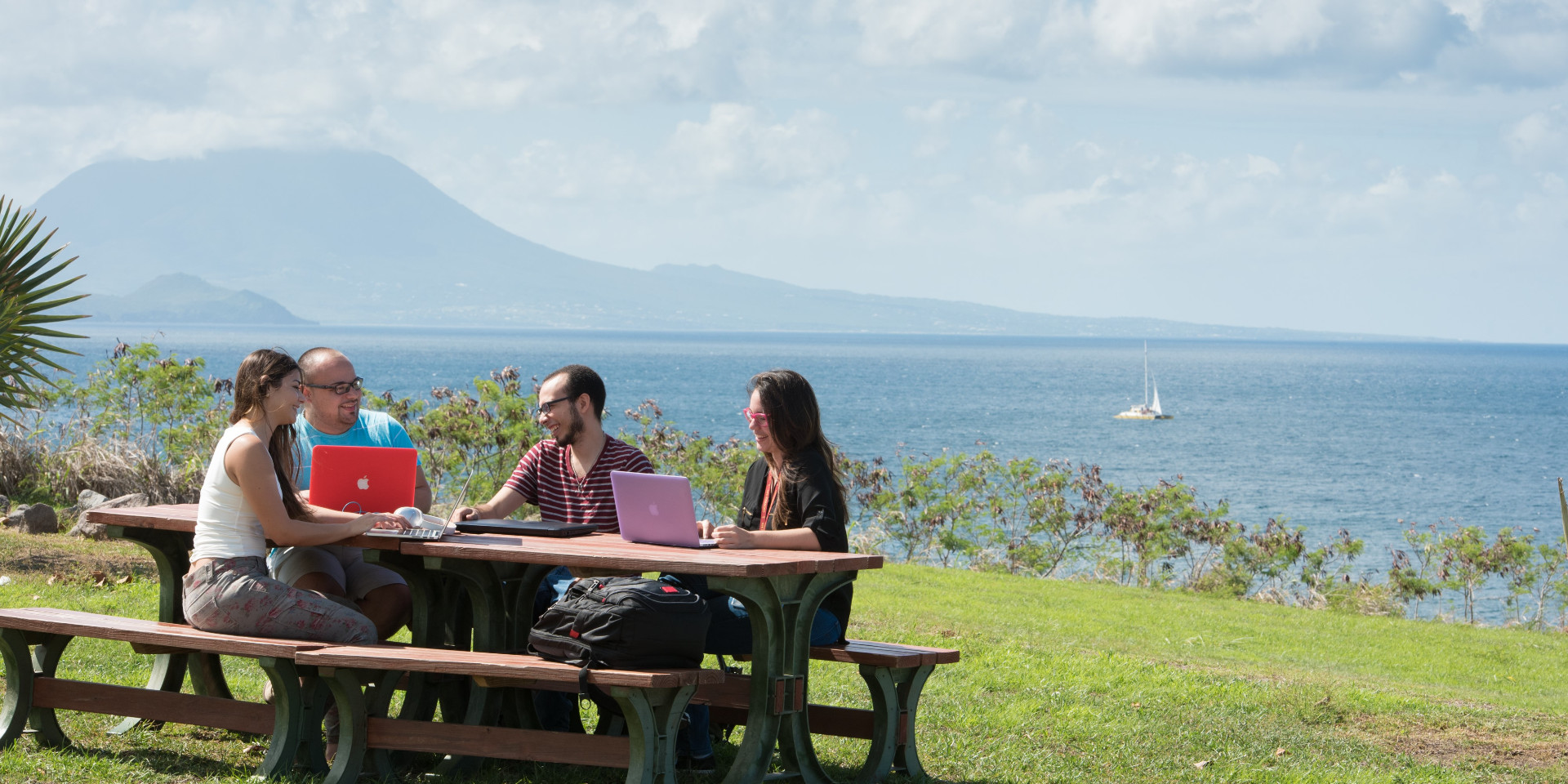 UMHS St Kitts Students with Mountain in Background